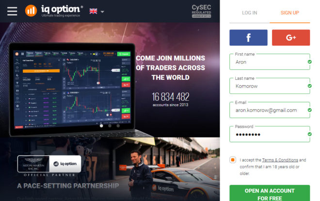 iq option registrace