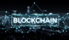 Blockchain connection background 3D rendering